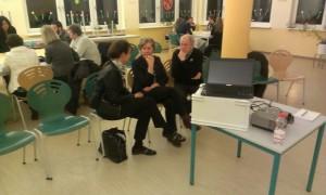 Gespäch mit der Beigeordneten der Landrätin NWM, Karla Krüger, und dem Regionalfilmer Alois Behnke am Rande der Workshops.